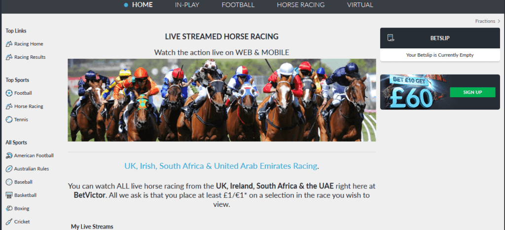 BetVictor Review Live Streaming