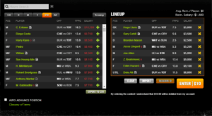 Our LineUp DFS lineup