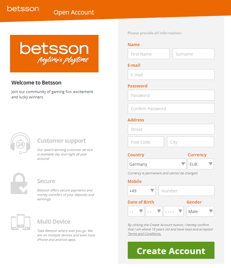 Betsson Top 1 Sign Up Step 2