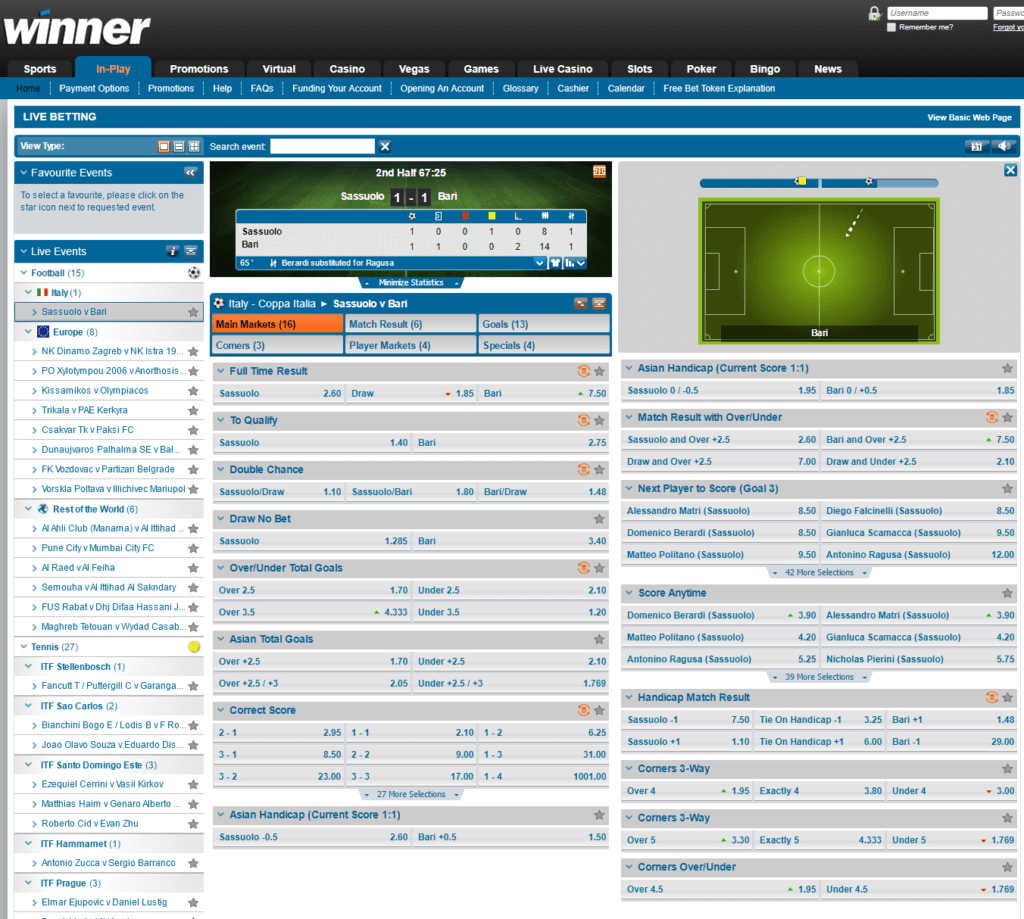 Winner Sports Live Betting