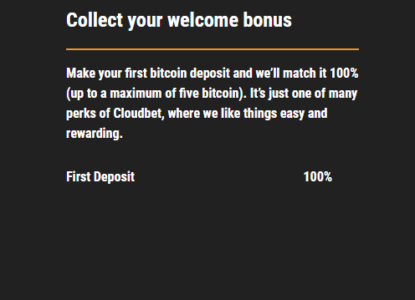 Cloudbet First Deposit Bonus