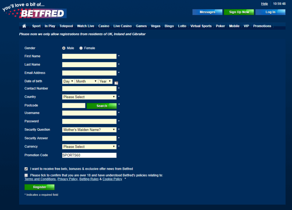 Betfred Registration Form