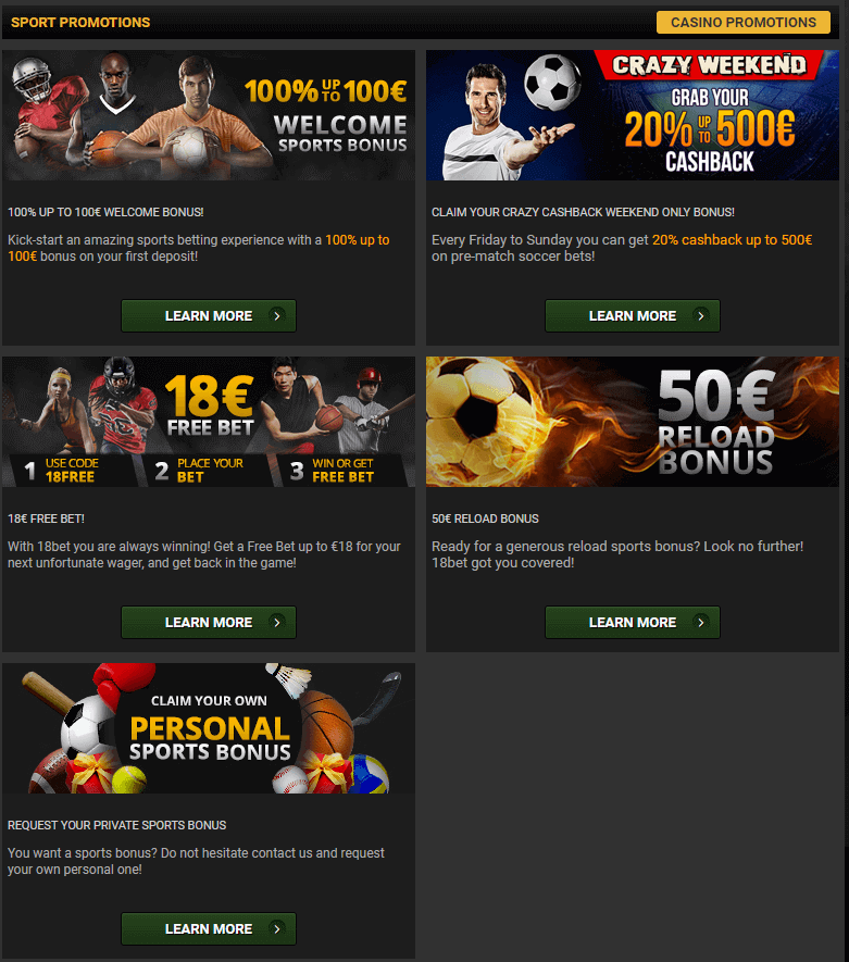 18bet Promotional Offers